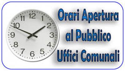 ORARIO DI APERTURA AL PUBBLICO DEGLI UFFICI COMUNALI