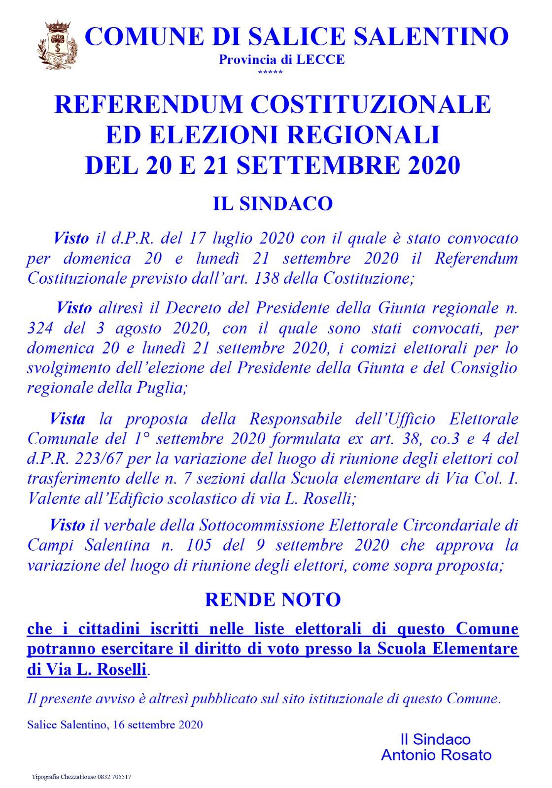 Referendum costituzionale ed elezioni regionali del 20 e 21 settembre 2020