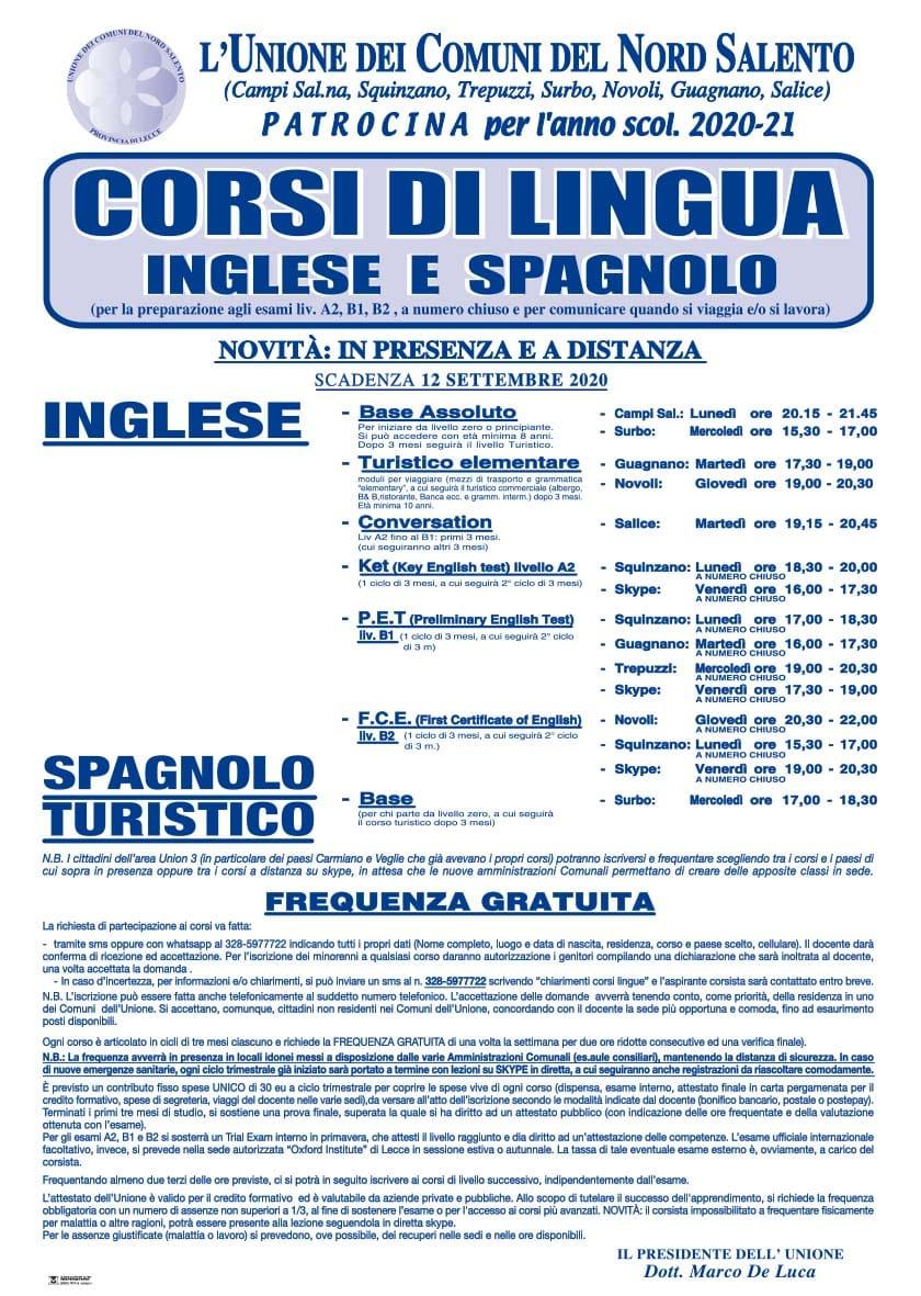 Corsi di Lingua Inglese e Spagnolo Anno 2020 - 2021
